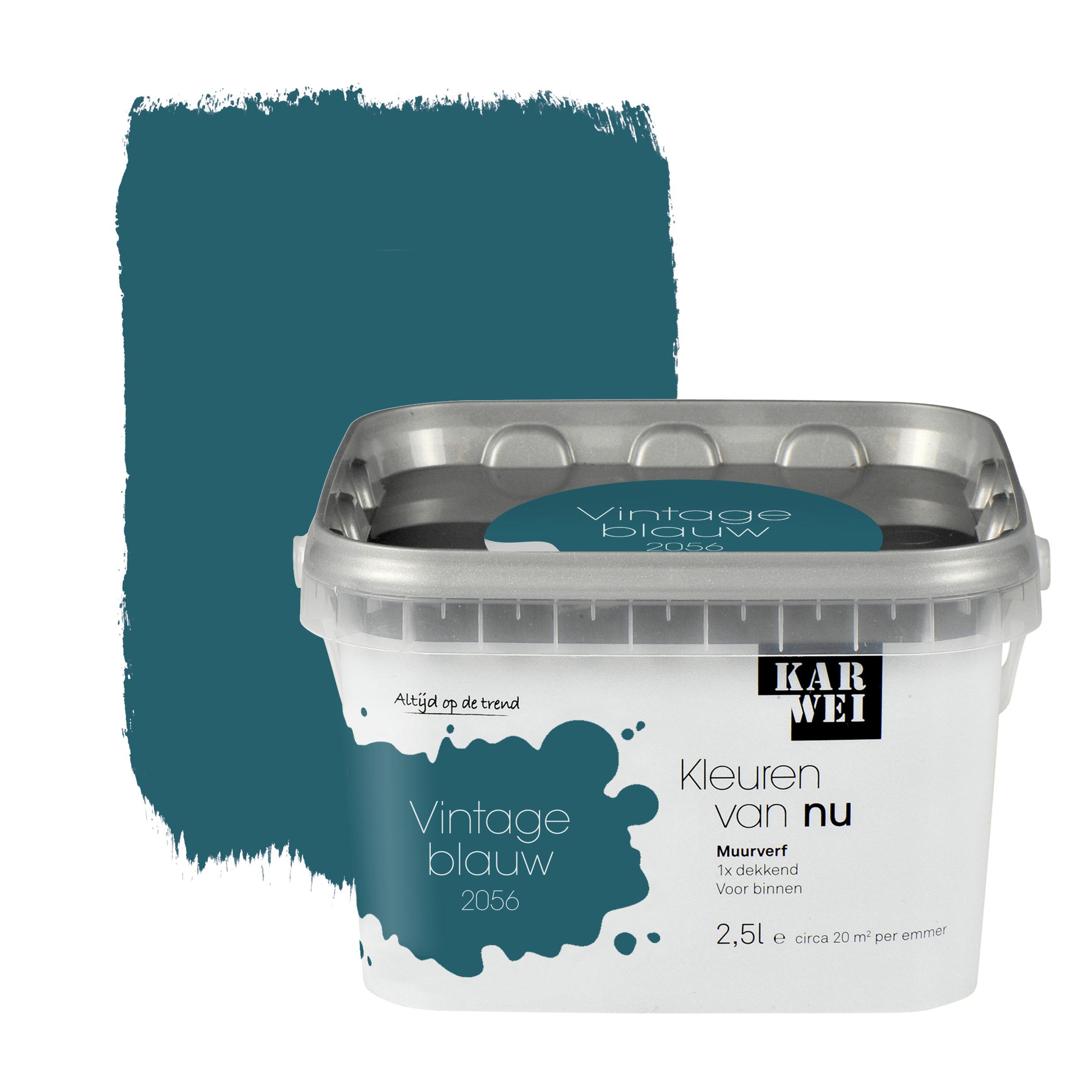 Karwei kleuren van nu muurverf mat vintage blauw 2 5l muurverf kleur muurverf verf karwei - Kleur blauwe verf ...