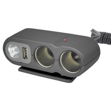 Stekkerdoos 2-weg met USB en licht