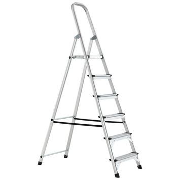 Handson huishoudtrap aluminium 6 treden 125cm stahoogte