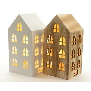 Theelichthouder huis hout kopen overige woonaccessoires for Woondecoratie vensterbank
