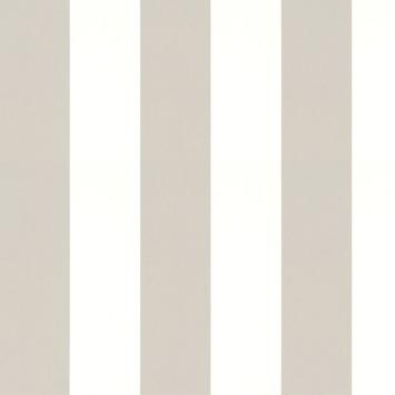 Vliesbehang streep taupe-wit (dessin 33-185)