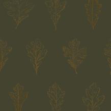Vliesbehang eikenblad groen/koper (dessin 33-265)