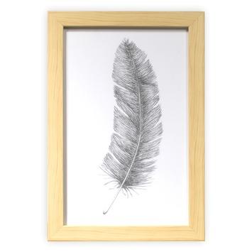 Print in frame - Getekende veer 30x20 cm