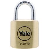Yale hangslot standaard massief messing 20 mm (4 stuks)