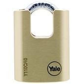 Yale hangslot standaard massief messing 40 mm met beschermde beugel