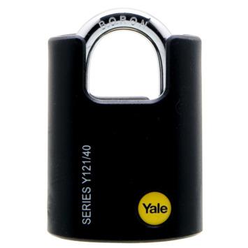 Yale hangslot massief messing zwart 40 mm met beschermbeugel