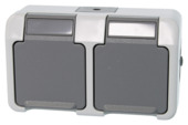 Merten stopcontact dubbel geaard grijs spatwaterdicht