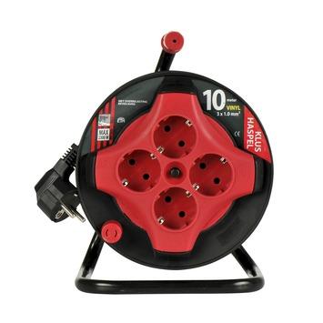 ETM kabelhaspel mini zwart/rood 10 m