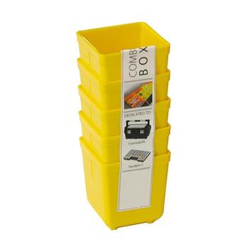 Inzetbakje voor assortimentsdoos ca. 4x4x4 cm geel 5 stuks