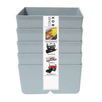 Inzetbakje voor assortimentsdoos ca. 8x8x4 cm grijs 5 stuks