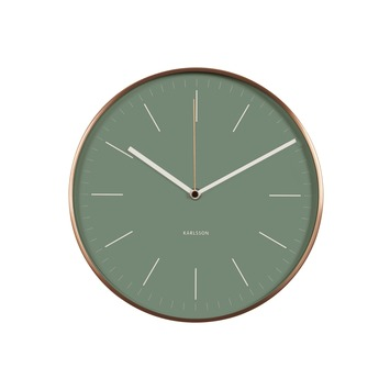 Karlsson wandklok Minimal koper/groen 28x6 cm
