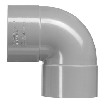 Martens PVC bocht 90° grijs 2x mof 125 mm