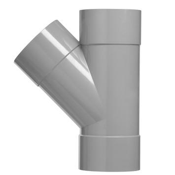 Martens PVC T-stuk 45° 3x mof 32x32 mm grijs