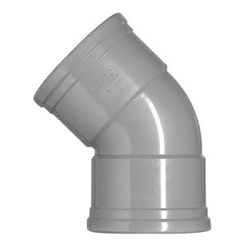 Martens PVC bocht 45° grijs 2x manchet 125 mm