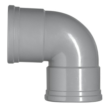Martens PVC bocht 90° grijs 2x manchet 125 mm
