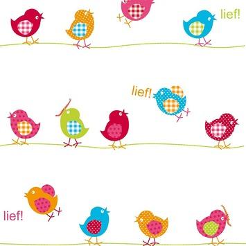 Vogeltjes Behang Lief.Lief Vliesbehang Vogel Wit Dessin 30 088
