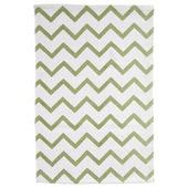Vloerkleed Bombay zigzag groen/wit 60x90 cm