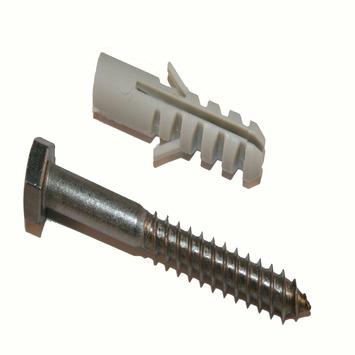 KARWEI plug nylon 8 mm met houtdraadbout RVS 6x50 mm 4 stuks