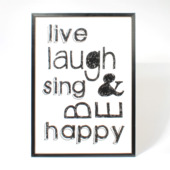 Print in frame - Live laugh sing & be happy 50x70 cm