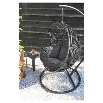 Hangstoel Joya wicker zwart