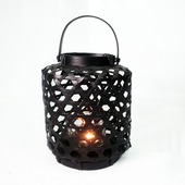 Windlicht bamboe zwart 17x30 cm