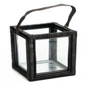 Windlicht glas zwart 20x30 cm