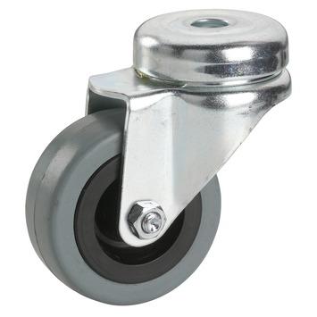 Zwenkwiel Rubber met boutbevestiging Ø 50 mm max. 35 kg