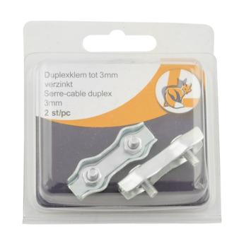 Ledent kabelklem duplex tot Ø 3 mm verzinkt (2 stuks)