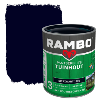 Rambo Pantserbeits Tuinhout zijdeglans diepzwart dekkend 750 ml