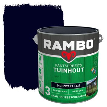 Rambo Pantserbeits Tuinhout zijdeglans diepzwart dekkend 2,5 l