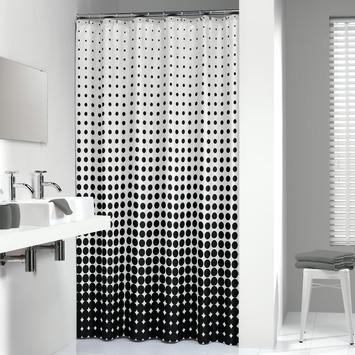 Sealskin Speckles textiel douchegordijn zwart 180x200 cm