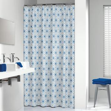 Sealskin Triangels textiel douchegordijn blauw 180x200 cm