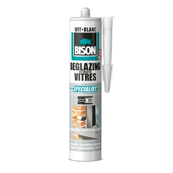 Bison beglazingskit wit koker 290 ml