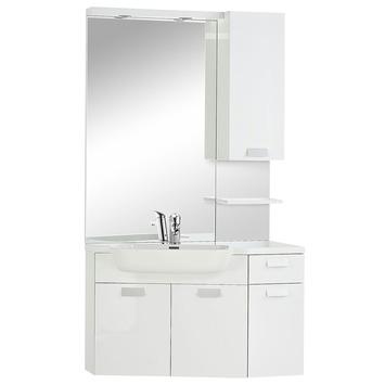 Differnz Fabulous badkamermeubel 100 cm hoek links hoogglans wit