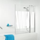 Get Wet S105 2-delige badklapwand 100x140cm chroom met decor
