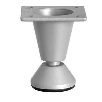 Duraline meubelpoot rond met voet zilvergrijs 50 mm