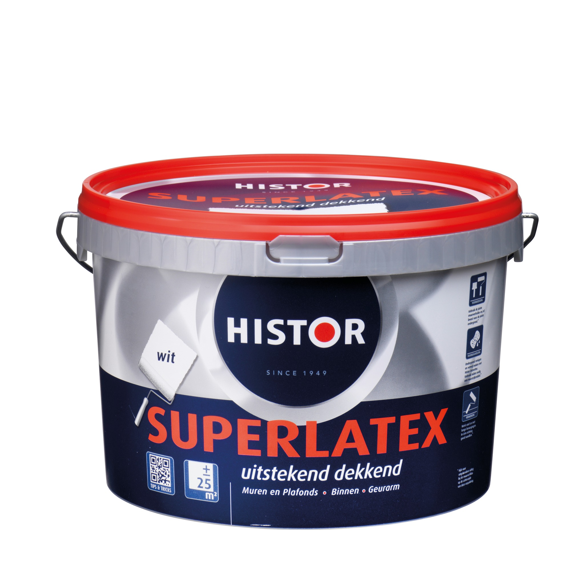 Histor Super latex muurverf mat wit 2,5 l