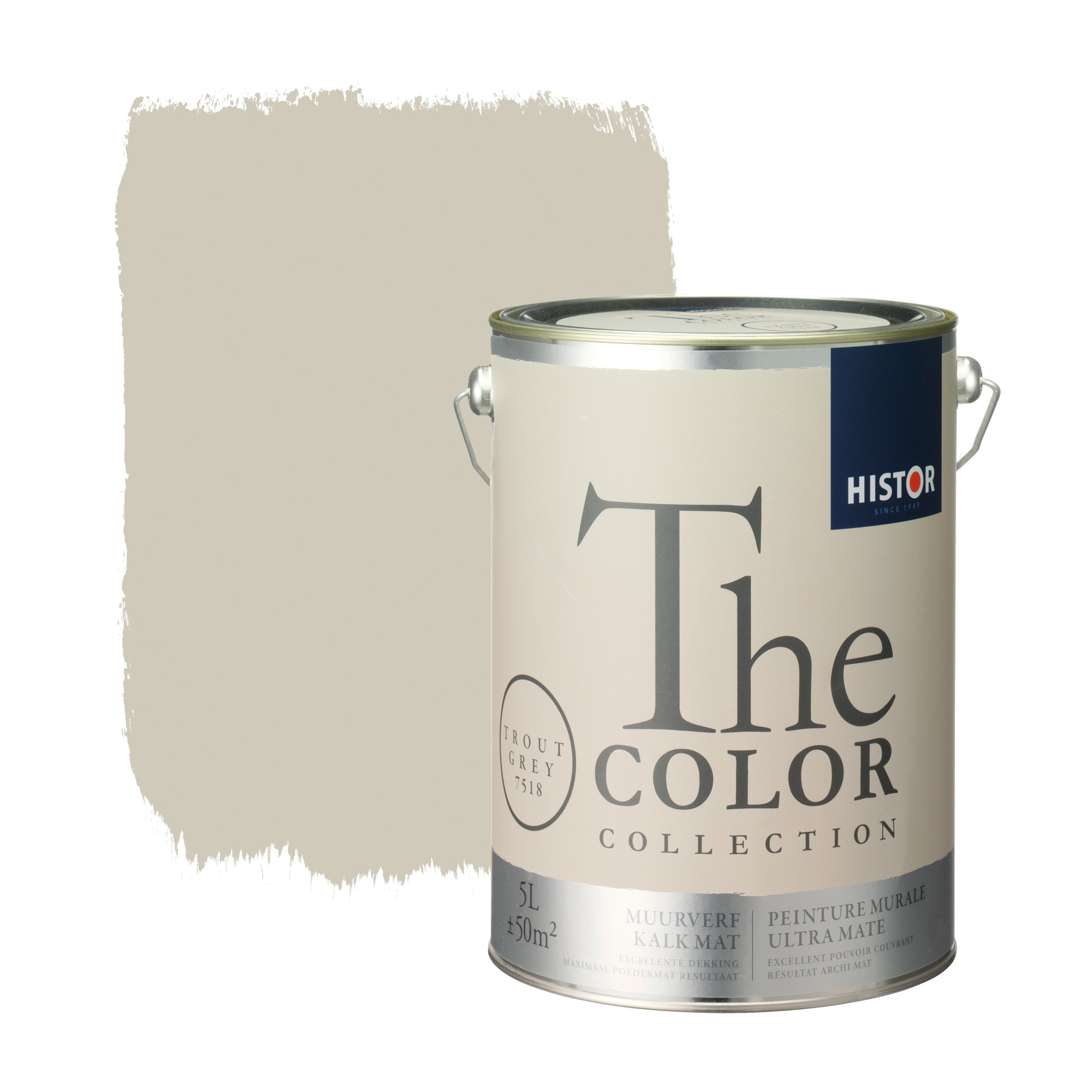 Histor the color collection muurverf kalkmat trout grey 7518 5 l