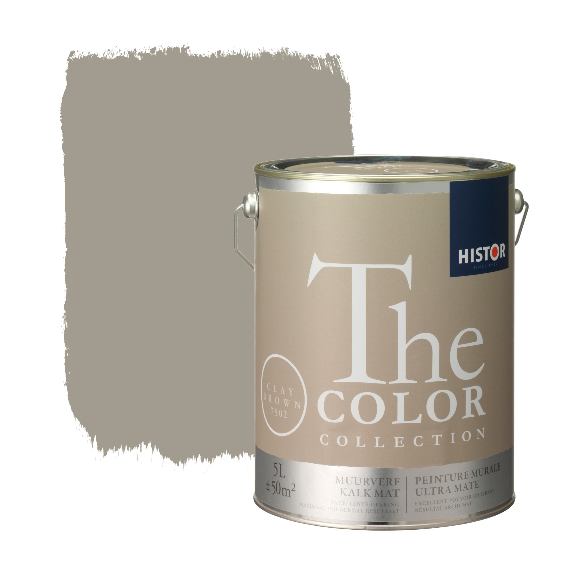Histor the color collection muurverf kalkmat clay brown 7502 5 l