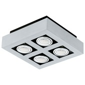 Eglo plafondspot Loke 4 lichts aluminium-geborsteld zwart