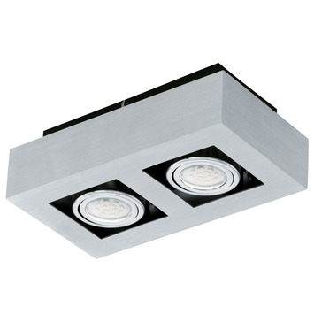 Eglo plafondspot Loke 2 lichts aluminium-geborsteld zwart
