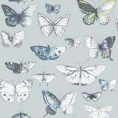Papierbehang vlinder blauw (dessin 50-653)