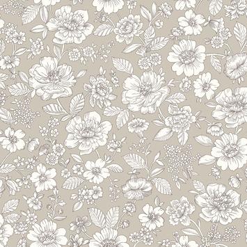 Vliesbehang bloem taupe (dessin 2259-20)