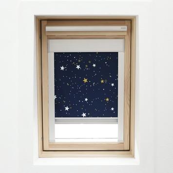 KARWEI dakraamrolgordijn donkerblauw ster (7006) 134 x 98 cm