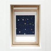 KARWEI dakraamrolgordijn donkerblauw ster (7006) 134 x 140 cm
