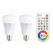 iDual ledverlichtingset met twee E27 lichtbronnen en een afstandsbediening