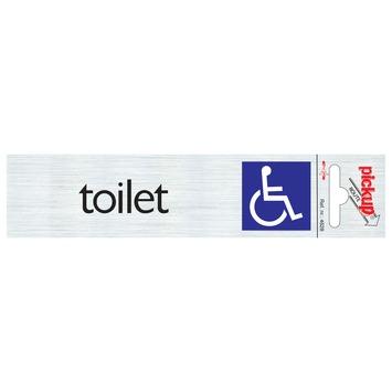 Pickup Alu deurbordje toilet toegankelijk voor rolstoel 165x44 mm