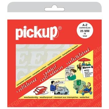 Pickup plakletter A-Z wit 25 mm