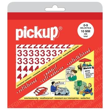 Pickup plakcijfers 0-9 Helvetica rood 10 mm