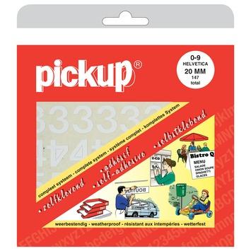 Pickup plakcijfers 0-9 Helvetica wit 20 mm